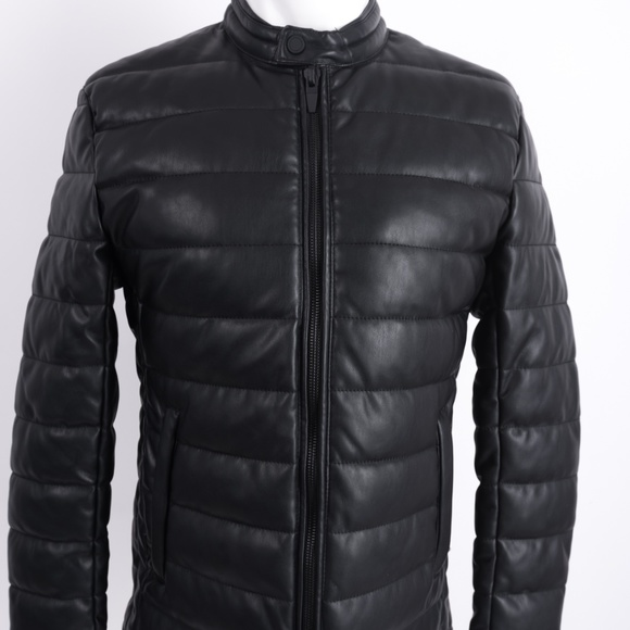 50-70%off novel style best collection Zara Man Faux Leather Puffer Jacket Coat Black M